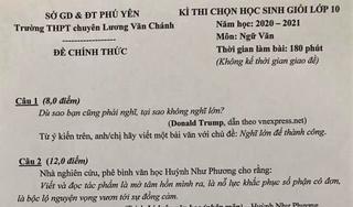 Câu nói của Tổng thống Donald Trump vào đề thi học sinh giỏi Văn