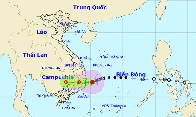 Bão số 12 sẽ đi vào đất liền các tỉnh từ Bình Định đến Ninh Thuận