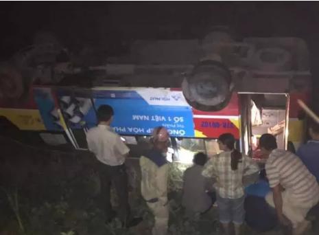 Tông chết trâu trên quốc lộ, xe buýt lật nhào xuống ruộng