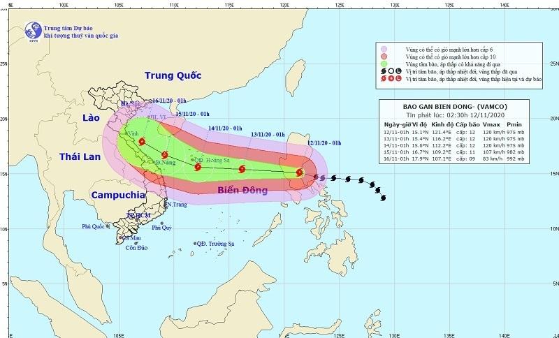 Bão Vamco đi vào biển Đông, trở thành cơn bão số 13