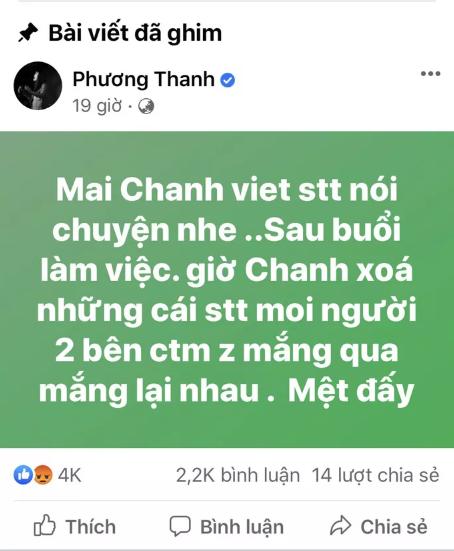 Ca sĩ Phương Thanh chính thức xin lỗi và xóa bài viết xúc phạm người dân Quảng Ngãi