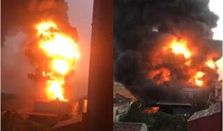 Xưởng gỗ ở Nam Định cháy dữ dội, nhiều tài sản bị thiêu rụ