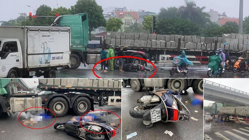 Xe máy va chạm với xe đầu kéo chở bê tông, 2 người phụ nữ tử vong