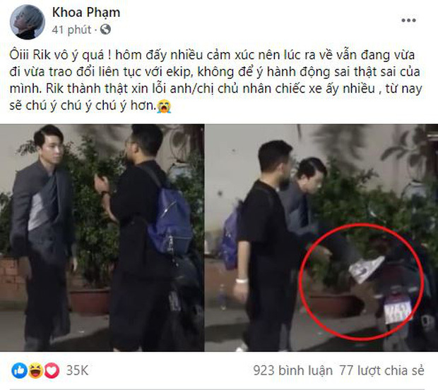 Karik xin lỗi vì hành động gác chân lên xe người lạ cột dây giày hậu Rap Việt