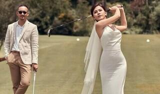 Mê mẩn bộ ảnh cưới mang phong cách sân golf của MC Thu Hoài