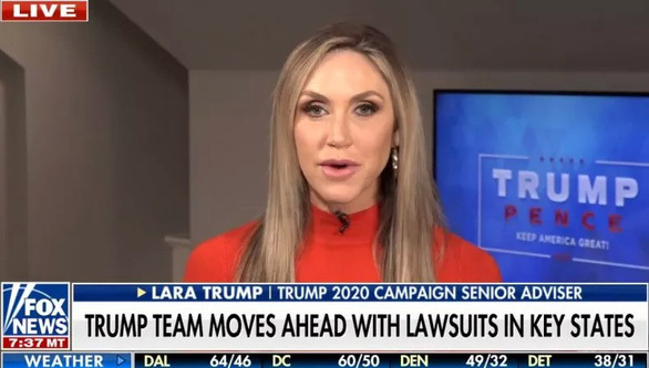 Con dâu của Tổng thống Trump nói lý do tiếp tục cuộc chiến pháp lý sau bầu cử