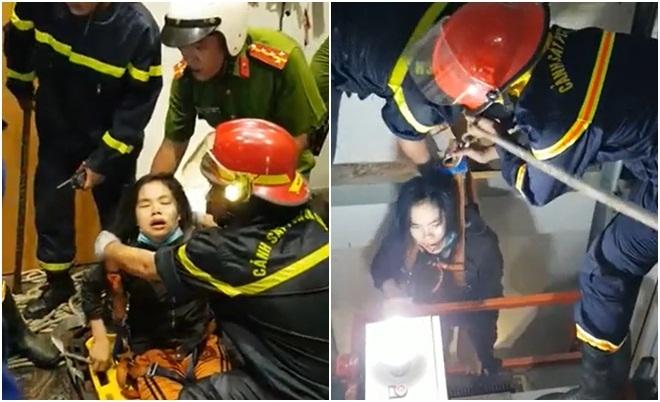 Gải cứu người phụ nữ hoảng loạn đến ngất xỉu khi rơi xuống hố thang máy