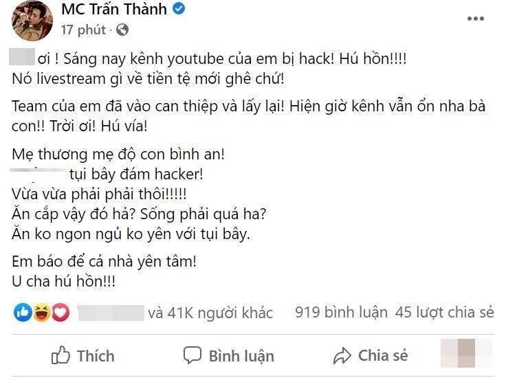 Trấn Thành bị hack kênh Youtube, phát livestream tiền ảo với lượt xem 'khủng'