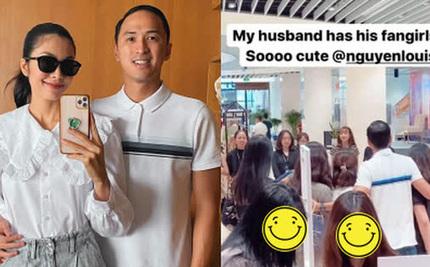 Phản ứng bất ngờ của Hà Tăng khi ông xã bị fan nữ vây kín