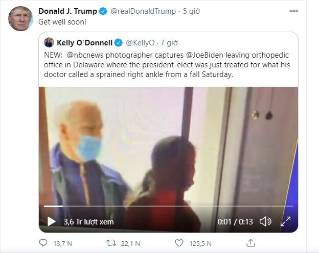 Phản ứng bất ngờ của ông Trump khi biết ông Biden gặp tai nạn