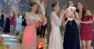 Đỗ Mỹ Linh bất ngờ được trao lại hoa cưới trong lễ cưới Á hậu Tường San