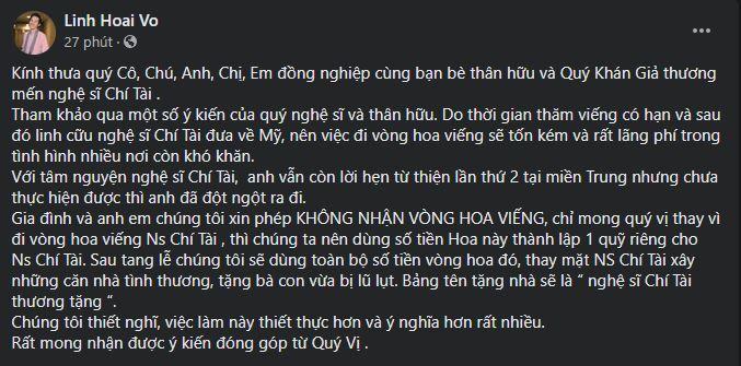 Nghệ sĩ Hoài Linh thông báo không nhận vòng hoa, tiền viếng sẽ lập