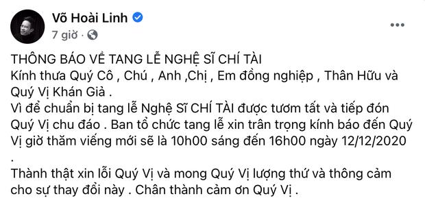 Nghệ sĩ Hoài Linh thông báo lại giờ viếng trong lễ tang Chí Tài