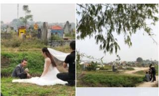 Bộ ảnh cưới 'kì dị' ở nghĩa trang gây tranh cãi mạng xã hội