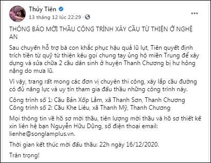 Thủy Tiên bỏ hơn 1 tỷ đồng tiền túi hỗ trợ người dân miền Trung đợt 4