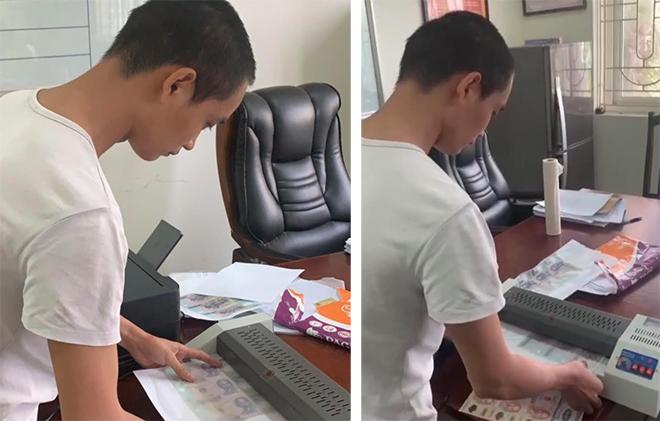 Thanh niên dùng máy photocopy in tiền giả rồi mang đi tiêu xài