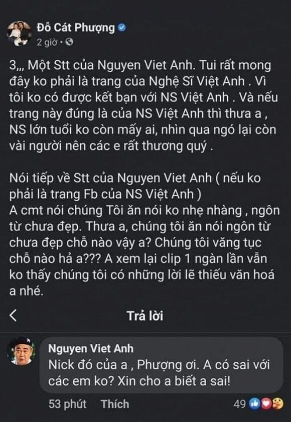 Cát Phượng chính thức xin lỗi nghệ sĩ Việt Anh sau phát ngôn thiếu tôn trọng