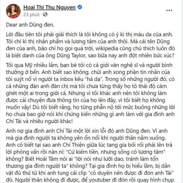 Hoa hậu Thu Hoài yêu cầu Dũng Taylor xin lỗi gia đình cố nghệ sĩ Chí Tài