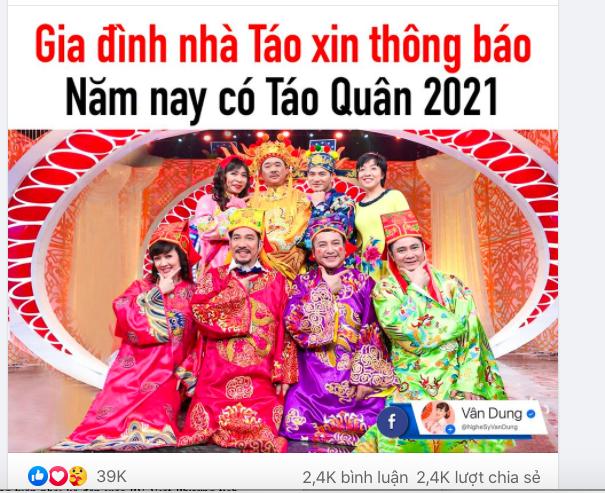NSND Công Lý, Vân Dung báo tin vui 'Táo Quân' 2021: 'Năm nay chúng em sẽ lên chầu trời'