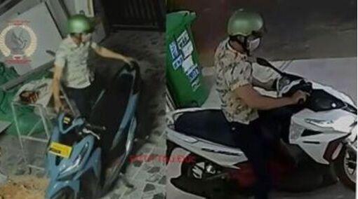 Chỉ 15 phút, tên trộm đã lấy 2 chiếc xe máy ở 2 địa điểm khác nhau