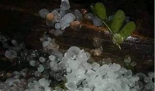 Không khí lạnh bắt đầu ảnh hưởng, mưa đá to như hòn bi đã xuất hiện