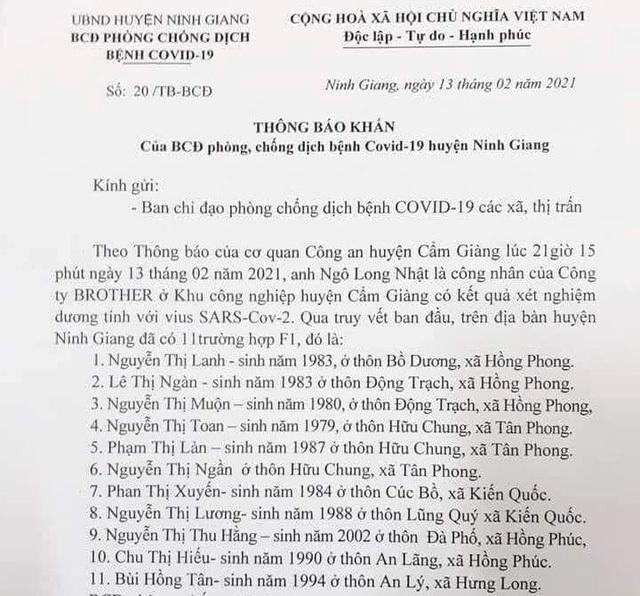 Những ai tiếp xúc với 11 công dân và lái xe ô tô huyện Ninh Giang khẩn trương khai báo y tế