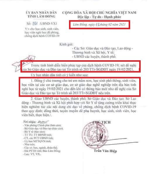 Lại phát hiện học sinh lớp 9 chỉnh sửa văn bản cho nghỉ học của UBND tỉnh sau Tết