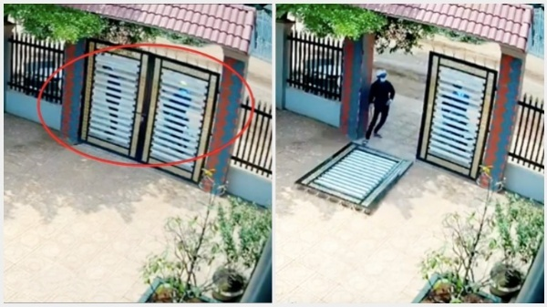 Tên trộm cạy cổng khiến cánh cổng đổ rầm xuống sân