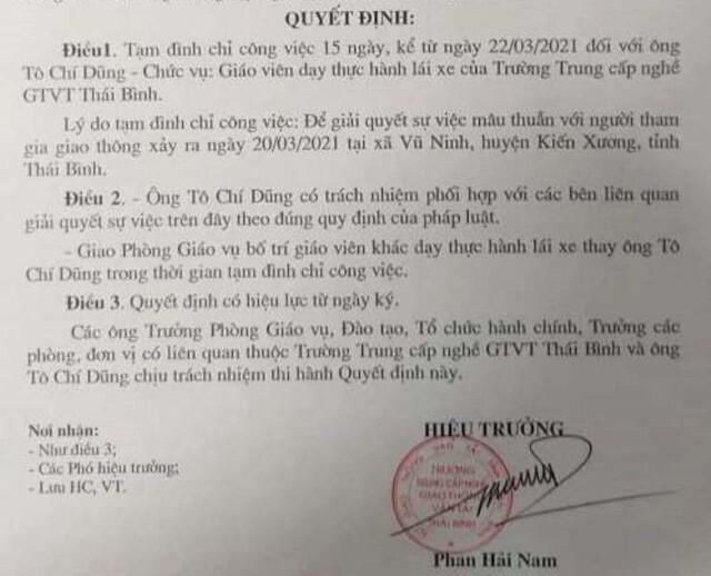 Vì sao giáo viên dạy lái xe ở Thái Bình bị tạm đình chỉ công tác
