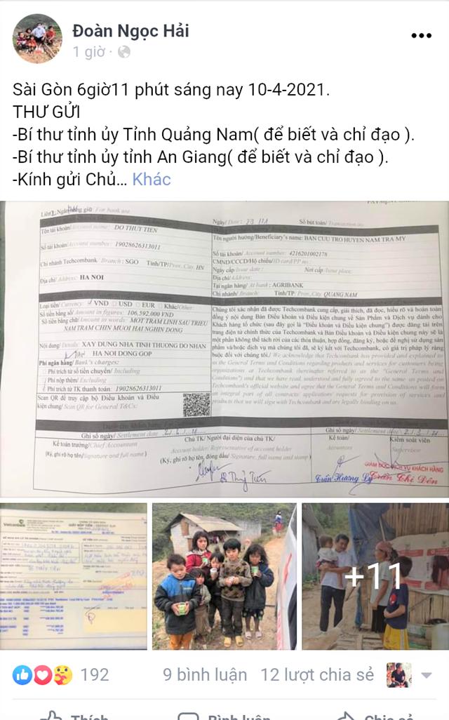Quảng Nam chưa quyết định có nhận tiền của ông Đoàn Ngọc Hải hay không
