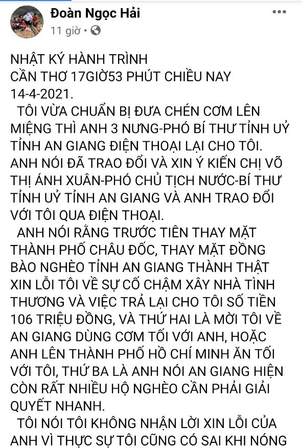 Ông Đoàn Ngọc Hải hứa tặng 3 căn nhà, chuyển vốn giúp dân nghèo ở An Giang
