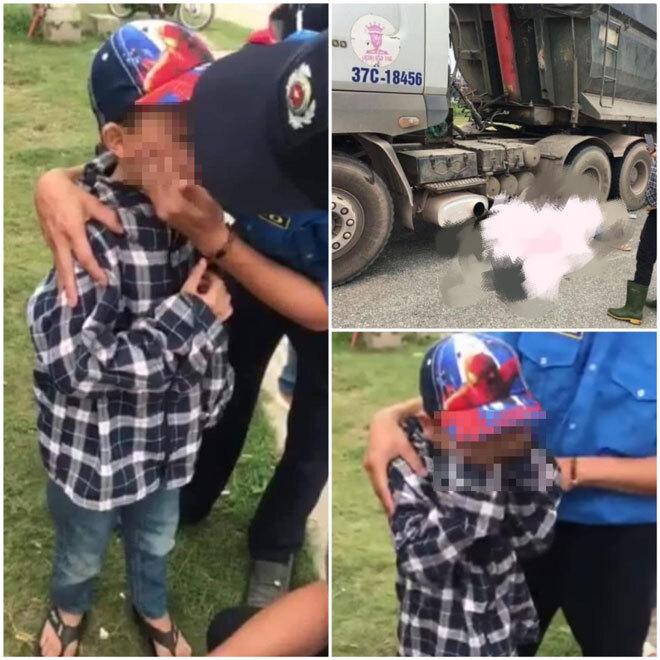 Bé trai khóc nức nở cạnh thi thể mẹ và chị gái sau tai nạn giao thông