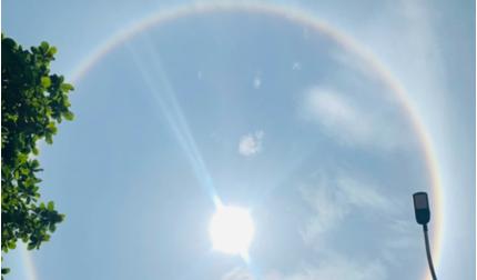 Hải Phòng: Hào quang mặt trời xuất hiện giữa trưa, khiến người dân thích thú