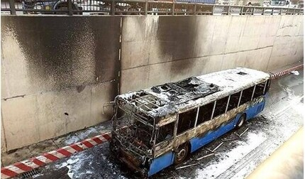 Cao Bằng: Xe buýt bốc cháy ngay sau khởi hành