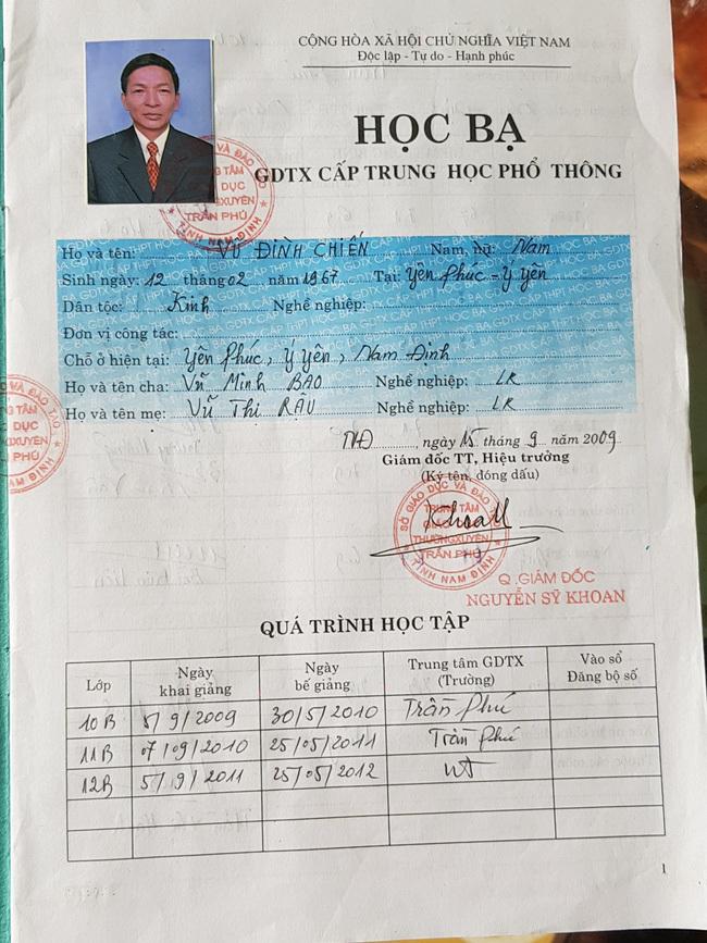 Từ thông tin của Báo Dân Việt, công an vào cuộc điều tra Chủ tịch Mặt trận xã ở Nam Định làm giả học bạ