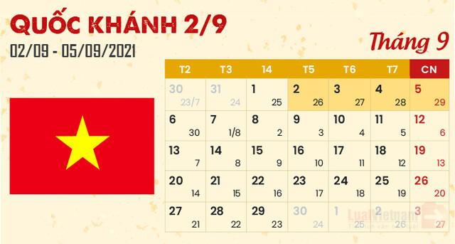 Dịp lễ Quốc khánh 2/9/2021 được nghỉ mấy ngày