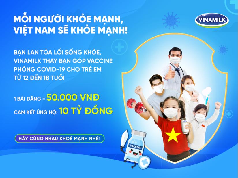 Vinamilk kêu gọi cộng đồng lan tỏa lối sống khỏe, với mục tiêu góp vaccine cho trẻ em