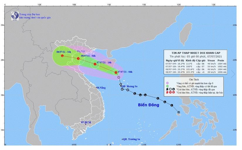 Áp thấp nhiệt đới có khả năng mạnh lên thành bão, gây mưa lớn ở nhiều khu vực