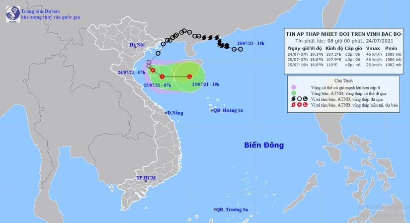 Áp thấp cách bờ biển Nam Định-Ninh Bình 130km, mưa to trút xuống nhiều nơi