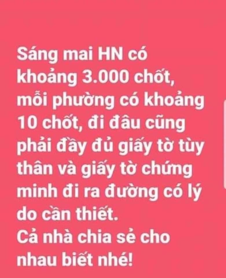 Thực hư thông tin Hà Nội thiết lập 3.000 chốt kiểm dịch Covid-19