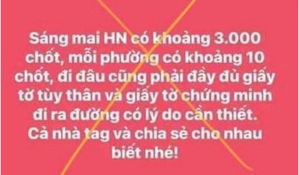 Hà Nội xử phạt người tung tin có 3.000 chốt kiểm dịch trên địa bàn thành phố