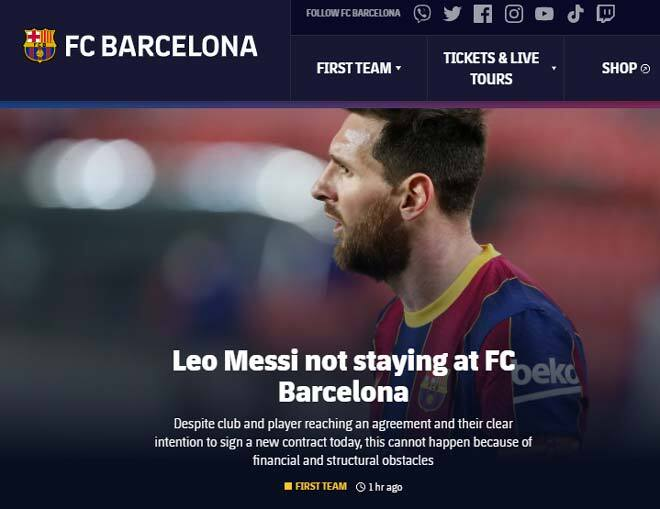 CLB Barca chính thức nói lời chia tay với Messi