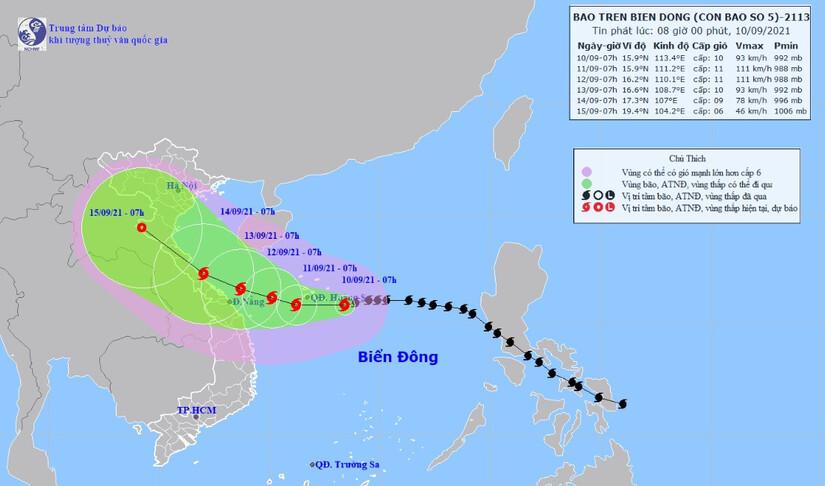 Bão số 5 Côn Sơn hướng thẳng Thanh Hoá-Quảng Ngãi, miền Trung sắp hứng mưa lớn