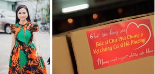 Ca sĩ Hà Phương tiếp tục tặng hàng trăm tấn nhu yếu phẩm cho người dân
