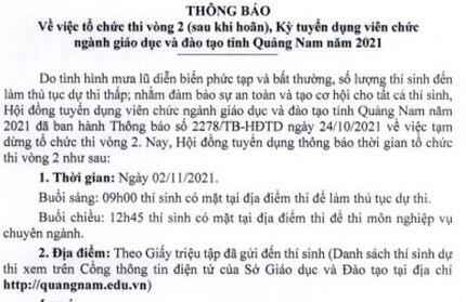 Quảng Nam: Bất ngờ hoãn do mưa bão, thi tuyển viên chức giáo dục vòng 2 lùi đến 2/11