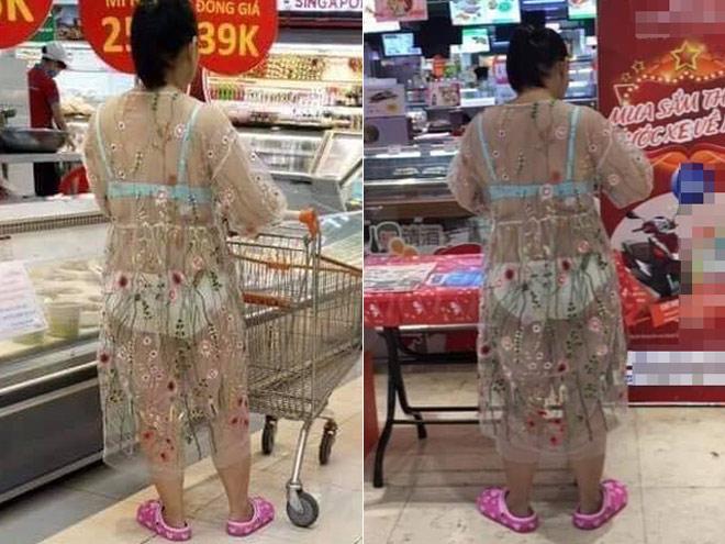Hoảng hồn với chiếc váy mỏng tang 'mặc cũng như không' của vị khách nữ trong siêu thị